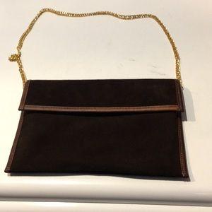 Vintage 1950'S Lewis brown leather/suede clutch